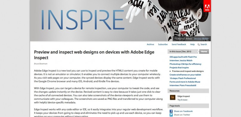 Preview and inspect web designs on devices with Adobe Edge Inspect