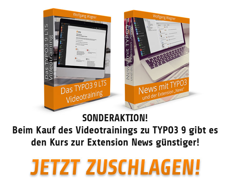 Das Videotraining zu TYPO3 9 LTS plus der Videkurs zur Extension News